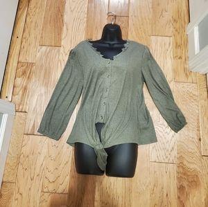 By como blu top blouse size L